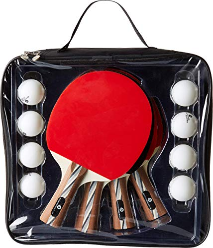 Backyard All Star | Table Tennis  Ping Pong Paddle Set  4 Wooden Paddles and 8 Balls with Carrying Bag Organizer for Travel and Storage
