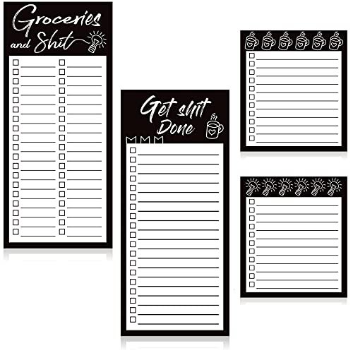 4 Pieces Magnetic Grocery List Pads Magnet to-Do List Notepads Magnetic Refrigerator Memo Pad Funny Shopping List Reminders Tear Off Grocery Notepad, 2 Sizes