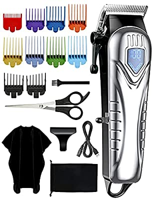 ATMOKO Mens Hair Clippers, Cordless Hair Clippers for Men,Kids,Family, 10 Colour Combs(0.5-25mm) Beard Clipper, Electric Grooming Barber Trimmer with Rechargeable USB and LED, Silver