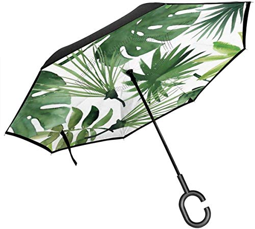 Grote Stick Omgekeerde Paraplu Ondersteboven Paraplu 2 Laag Vouwen Winddichte UV Bescherming Duurzaam met C Vorm Handvat Binnen Tropische Plant Groene Bladeren Print voor Auto Regen Outdoor 8 Skeleton