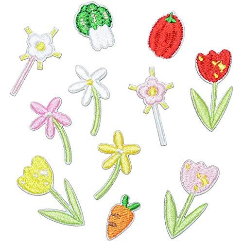 Parches para Ropa Etiqueta engomada de la Tela de la Flor del Bordado Pequeña Flor del Ciruelo Pegatinas Decorativas Cute Multi-Color Pequeño Parche de la Flor (Aproximadamente 2-3 cm) (11pcs)