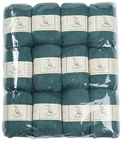 TEHETE Fil de Laine Merino à Tricoter, Pelote de Laine à Crochet, 3 Torons,12 pelotes, pour Couverture, Chaussette Pull-Over Echarpe-Olive verte