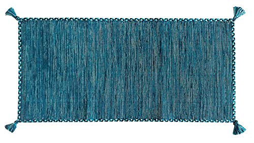 Confezioni.Giuliana Tappeto Kilim Nepal Blu Puro Cotone Classico passatoia Soggiorno Camera Salotto (60x200)
