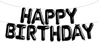 SGODA Happy Birthday Foil Letter Balloons Black