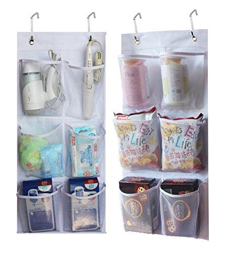 2 Pack - KIMBORA 6 Large Mesh Pockets Closet Door Hanging Shoe Rack Organizer Narrow Shoe Holder Over Door, White (13.7'' by 30'')