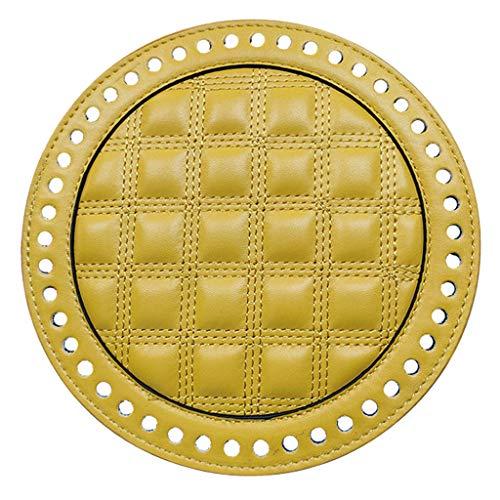 Hellery Cuero De La PU Plana Redonda Tejido Crochet Bolsas Nail Bottom Shaper Pad Bolsa Base De Cojín con Agujeros Bolso DIY Bolsos De Hombro Accesorios - Amarillo