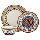 Tabletops Gallery Marseille Dinnerware Collection- Italian hand painted Inspired earthenware serving and dining, 12 Piece Marseille Dinnerware (Service for 4) Dinner plates, Salad Plates, Bowls
