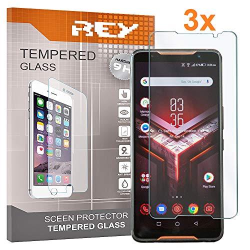 3X Protector de Pantalla para ASUS ROG Phone 2, Cristal Vidrio Templado Premium