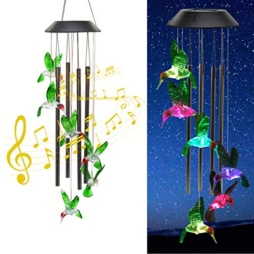 Zawino Solar Wind Chimes for Outside Green Hummingbird Windchimes with 4 Metal Tubes 7 Colors Changing Lights Waterproof Wind Bells for Indoor Outdoor Garden Patio Decor Love Memorial Mom Gift