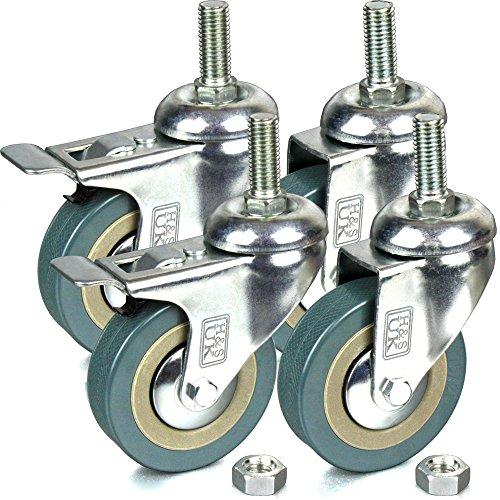 H&S - 4 ruedas pivotantes para muebles, caucho, 75 mm, resistentes, con tornillo