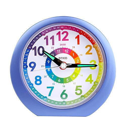 Reloj Despertador analógico para niños, niñas, mesita de Noche, Relojes de Mesa con Pilas sin tictac, Gran luminosidad, función de luz de repetición para Dormitorio, Oficina