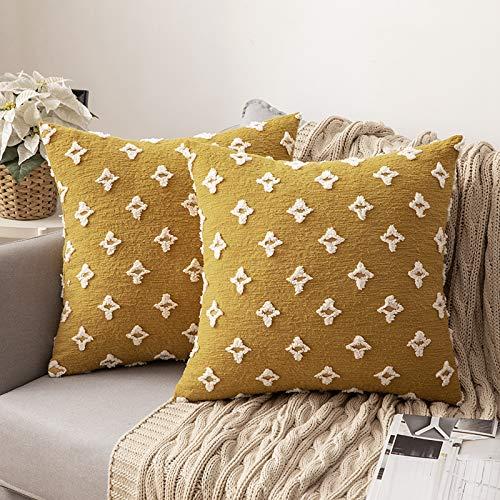 MIULEE 2 Piezas Funda de Cojines con Flores Cremallera Invisible Funda de Almohada Color Sólido Moderna Decorativa para Habitacion Sofá Cama Dormitorio Oficina Sala de Estar 45X45cm Amarillo