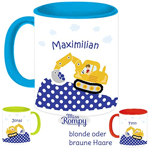 MissRompy Bagger(838) KinderTasse mit Name Tasse Namentasse Becher Kinderbecher