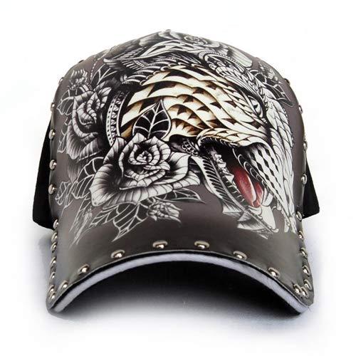 JJZZ Gorras de béisbol Gorra De Béisbol con Estampado De Cabeza De Leopardo Masculino del Sombrero Remaches Femeninos del Sombrero del Tatuaje De La Moda (Ropa)