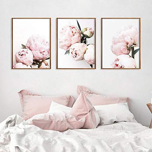LLXXD Decoración Simple para el hogar Tríptico de peonía Rosa Pintura en Lienzo Pequeña Planta Fresca Póster de Flores Sala de Estar Sofá Fondo Imágenes de la Pared 30X40cmx3 (sin Marco)