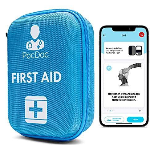 PocDoc Outdoor - smartes Erste-Hilfe Set nach DIN 13167 mit APP - Reisen, Sport & Motorrad + Pinzetten & Wundreinigungstücher