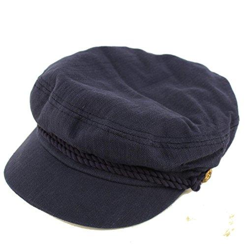EPOCH Men's Summer Cotton Greek Fisherman Sailor Fiddler Driver Hat Flat Cap Navy