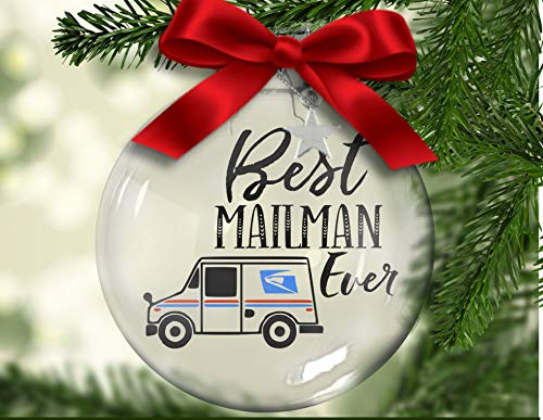 Yor242len Best Mailman Ever Floating Ornament silver charm, postal worker, mail delivery, letter carrier, express service, package delivery