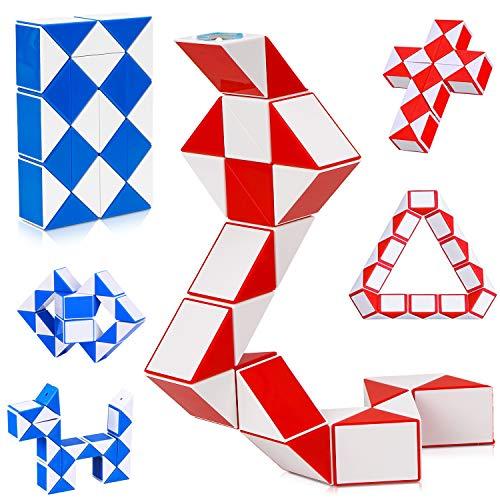 Puzzle de Magia Serpiente,24 Bloques Juguetes de Rompecabezas de Snake 2Pcs,3D Magic Speed Cube Juego Twister,Cuñas Regla Mágica Puzzle Educativos Toys para Niños Fiestas Favores Llenadores