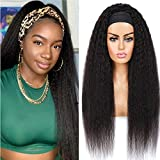 Headband Wig Kinky Straight Human Hair Wigs for Black Women Brazilian Remy Human Hair Yaki Straight Wig None Lace Front Wigs Natural Color 150% Density ( Kinky Straight Headband Wig.22 Inch)