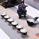 SHENLIJUAN 4 Estilo de Piedra Molino Semi-Auto Kung Fu Juego de té Set Home Simple 999 Sterling Silver Set Lazy Tea Make (Color : Light Yellow)