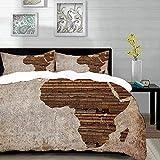 Bedding Juego de Funda de Edredón,Microfibra -Africano, Geografía Tema Grunge Vintage Tablón de madera África Mapa - Funda de Nórdico y Fundas de Almohada - (Cama 150 x 200cm + Almohada 63X63cm)