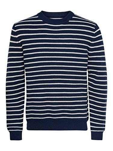 ONLY & SONS Male Strickpullover Gestreifter MDress Blues