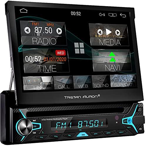 Tristan Auron 1 DIN Android Autoradio mit Mirrorlink - 7\'\' ausfahrbares Display CD DVD Laufwerk GPS Navi Bluetooth Freisprecheinrichtung DAB Plus (BT1D7022A)