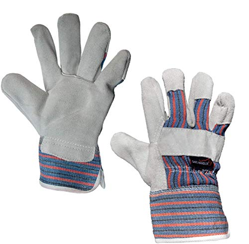 SAFE HANDLER Work Leather Gloves | Cool Cotton Lined Backing, Split Leather Safety Cuff Work Gloves, Lightweight & Versatile (72 Pack)