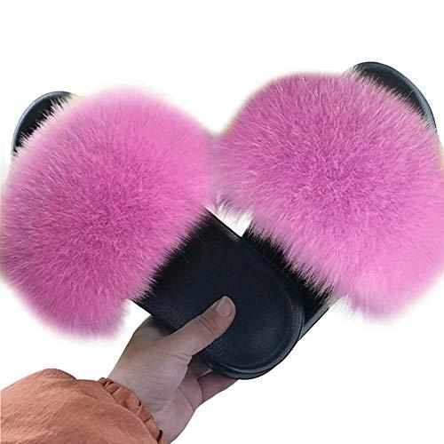 Zapatillas Mujer Inicio Fluffy Comfort Furry Flats Zapatos de Mujer Mujer Furry Indoor Flops-Color_8_42-43