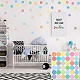"BATTOO Easy Peel + Stick Dots Wall Decals 36 Sorbet Colored Confetti Polka Dot Wall Decals 2"" Removable Eco-Friendly Wall Stickers for Kids Rooms and Nursery"