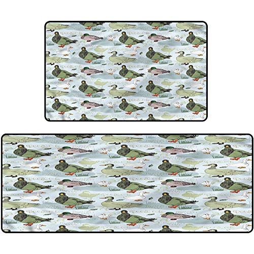 Geese Rug Shoes Mat Sketch Style Duck Pattern Door Mat for Kitchen Farmhouse Bathroom Entryway Carpet 20'x63'+20'x31'
