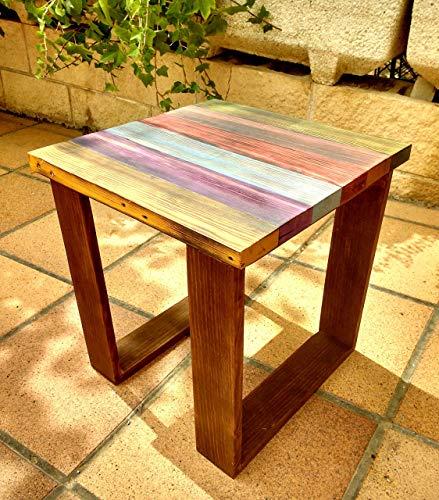 Mesa auxiliar de colores de madera reciclada de palet, hecho a mano
