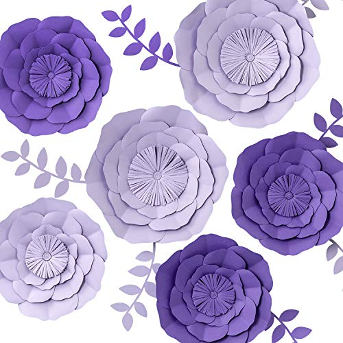 3D Paper Flower Decorations, Giant Paper Flowers, Large Handcrafted Paper Flowers (Purple, Lavender Set of 6) for Wedding Backdrop, Bridal Shower, Baby Shower, Wall Decor, Birthday Party