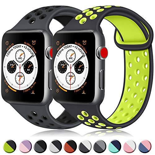 ATUP コンパチブル Apple Watch バンド 42mm 38mm 44mm 40mm、ソフトシリコン交換用リストバンド iWatch series 4/3/2/1に対応、iWatchは含まれていません (42/44 S/M, 12 暗灰色/黒+黒/緑)