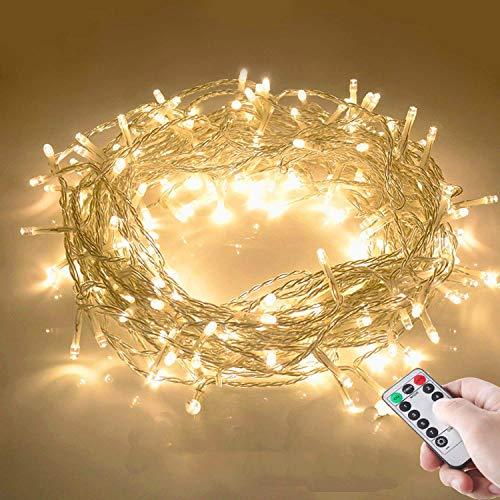 10M 100 LED Lichterkette mit Fernbedienung und Timer 8 Modi Dimmbar Batterie betrieben Lichterkette Außen Innen für Zimmer Weihnachten Weihnachtsbaum Party, Hof - Warmweiß