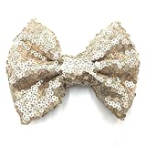 PrettyBoutique 4 Inches Girls Sequin Glitter Sparkle Hair Bow Clip Accessories (Light Brown)