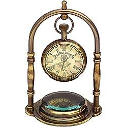 VETERIS Desk Clock Table Clock with Maritime Vintage Brass Compass Antique Victoria London Nautical Brass Antique Table Clock