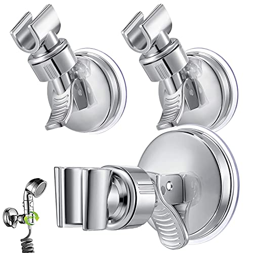 GZLCEU 3 Stück Brausehalter Saugnapf, Wandmontage Duschkopfhalterung Saugnapf Ohne Bohren Abnehmbare 360°Drehbar für Handbrause Duschbrause (Silber)