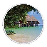 Toalla de Playa Redonda Toalla de Vacaciones en la Playa de Verano Toalla de Yoga para Mujeres Adultas con Flecos Toalla de protección Solar para el Muelle y la bahía Toalla para-4