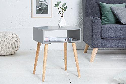 Preisvergleich Produktbild DuNord Design Beistelltisch Holztisch grau eckig Nachttisch Stockholm Eiche Massiv Retro Tisch
