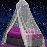 UB-STORE Canopy for Girls Bed with Pre-Glued Glow in The Dark Stars - Princess Mosquito Net Room Decor - Kids & Baby Bedroom Tent with Galaxy Lights - 1 Opening Canopy Bed & Hanging Kit Included