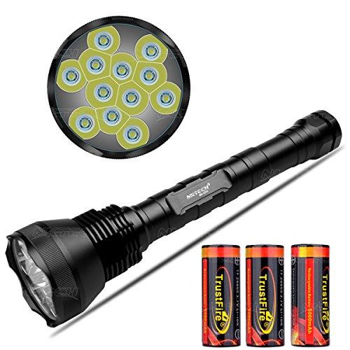 NKTECH - Torcia da esterno ultra luminosa NK-12T6 12 x T6 LED 13800LM, con tubo esteso per campeggio, escursionismo e 3X TrustFire 26650 5000 mAh batteria PCB