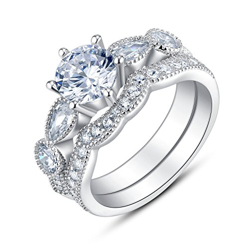 BL Jewelry Sterling Silver 6 Prongs Solitaire Bridal Engagement Wedding Ring Set (10)
