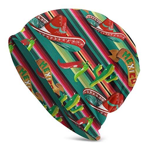DHGFH Gorro de Punto Foliage Mexico Figure Soft Slouchy Beanie Hats Daily Long Baggy Skull Cap - Men & Women
