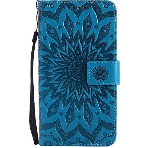 Lomogo Moto G4 / G4 Plus Hülle Leder, Schutzhülle Brieftasche mit Kartenfach Klappbar Magnetverschluss Stoßfest Handyhülle Case für Motorola Moto G4 / Moto G4Plus - KATU22822 Blau
