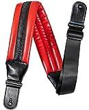 Correa de Guitarra 8.5cm de Ancho Neopreno Acolchado Rojo Suave Leather Para Bajo Guitarra Acústica Eléctrica Clásica (negro)