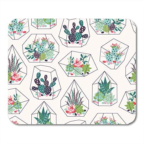 Muis Pads Cactus Vetplanten en Cactussen Inky in Glas Terrariums Tropisch Patroon Bloem Computers Accessoires Muismatten