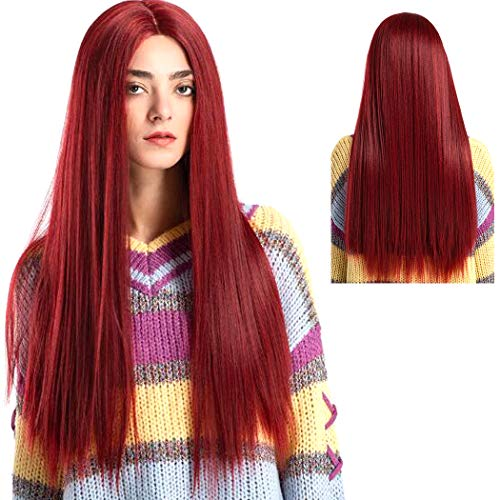 ATAYOU® Peluca Rojo Larga Lace Front - Burgundy Lace Front Wig Long Straight Hair Wigs Glueless Heat Resistant Fiber Hair Red Hair Synthetic Lace Front Wigs for Fashion Women