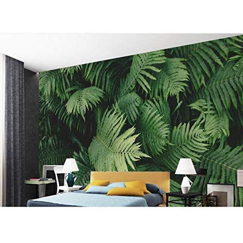 3D Wandbilder, Tapete für Wohnzimmer Grüne tropische Pflanzenblätter 3D Tapeten für Wandvlies, Tapete 280 cm (B) x 180 cm (H)